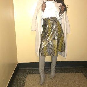 Zara Snakeskin A-line Skirt
